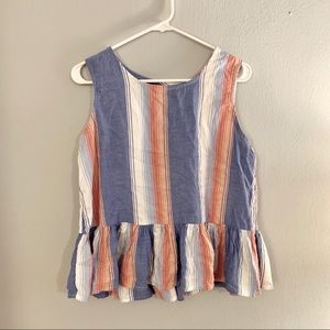 Adorable striped tank with ruffle hem detail